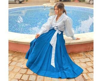 Aqua Silk Skirt| White Shirt With Frill Details| Skirt Set| Skirt Shirt Combo| Prom Dress| Party Dress| Western Wear Long Skirt| Ready Made