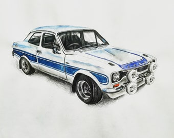 FORD Escort mk1 RS-FINE ART PRINT Taglia a3-rs2000 RS Messico /& Modelli rs1600