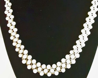 Vintage Mid Century Faux Pearl Woven Bead Necklace