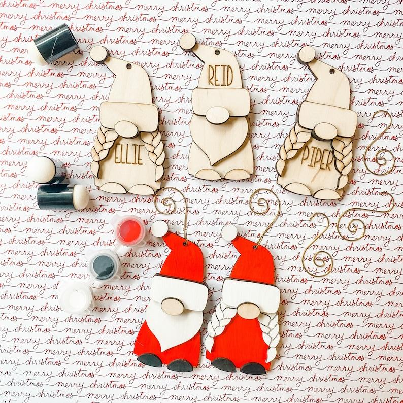 Option to Personalize DIY Christmas Gnome Ornament Set
