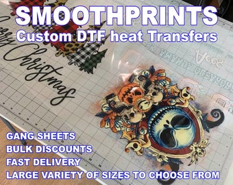 Custom Full Color DTF Heat Transfer Better than DTG and Screen Printing for T-shirts or Hoodies Gang Sheeting and Bulk Options Available