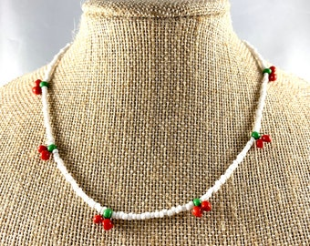 Cute Choker Beaded Necklace Fruit Accessories Cherry on Top Simple Necklace