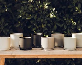 Matte Ceramic Plant Pot with Saucer | Modern Planter | Minimalist Planter | Indoor Planter | Succulent Pot | Indoor Pot | Matte Ceramics