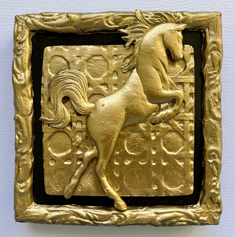 Clay Horse Wall Hanging Bas Relief