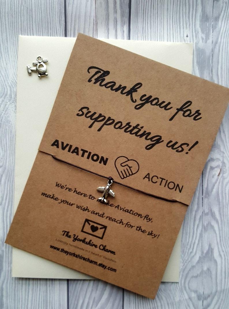 Aviation Action Charity Sponsorship BROWN kraft wish charm image 0