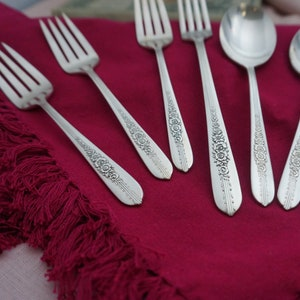 ART DECO Grille Style Place Setting Royal ROSE Vintage 1939 Floral Silverplate Flatware Silver Plate Nobility Plate