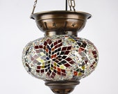 7 Different Color XL Oil Style Chandelier Lamp, Mosaic Turkish Hanging Lamp, Handmade Ceiling Lamp XL Globe