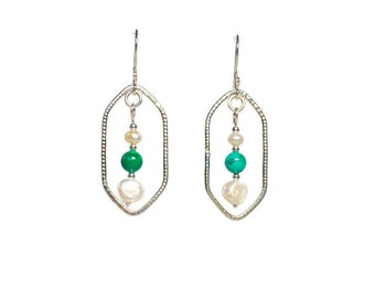 Textured Silver Hoops with Pearls and Malachite Beads