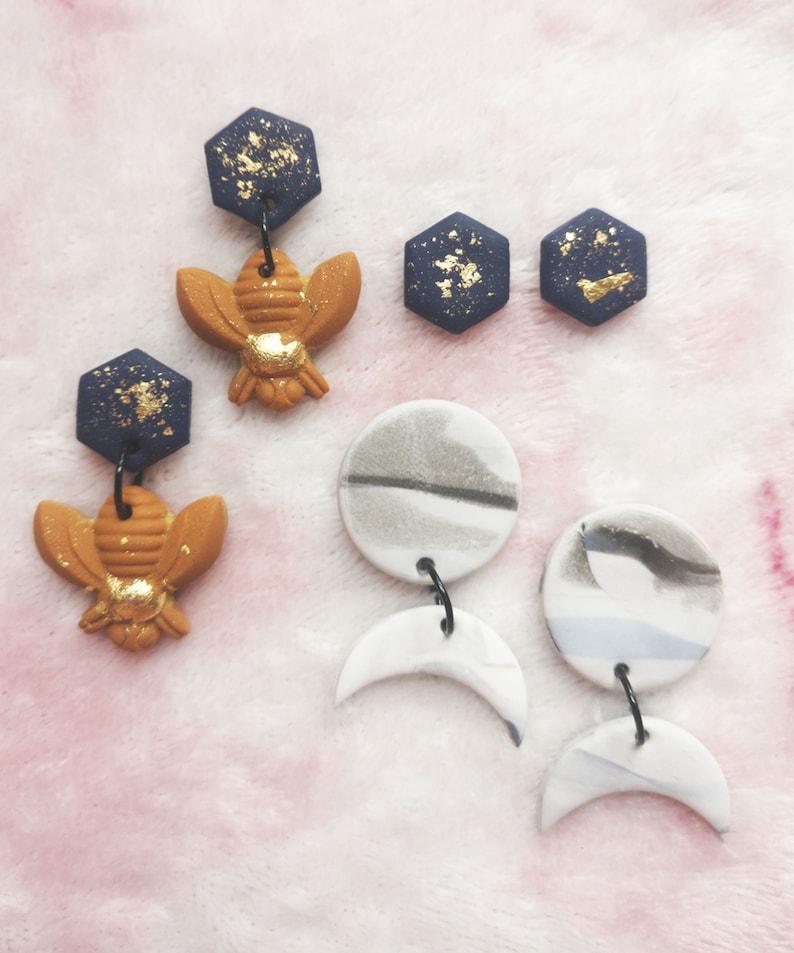 Heart of stone Moon phase marble drop earrings