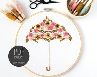 Floral Umbrella Embroidery Pattern | PDF Pattern | Digital Download | Easy Embroidery Pattern | Embroidery Tutorial | Digital Pattern