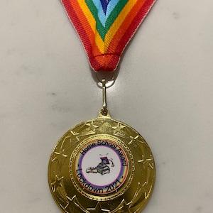 Rainbow Ribbon Personalised Lockdown Homework Well Done Medal Metal Medal