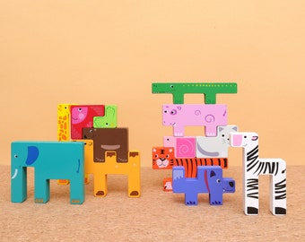 Montessori Animal Building Block & Puzzle for Kids 3 Years Old+, Best Educational Toy as Birthday Gift for Boys and Girls