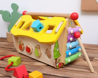 Montessori Wooden 6 Sides Multi-functional Intellectual House, Great Birthday Gift for Kids Age 18M+