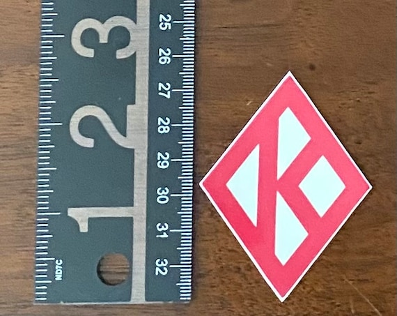 "Nupe - Sticker (Vinyl) - 1.98"" x 2.58"" - Diamond K (Crimson/Creme)"