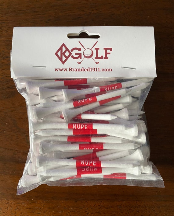 "Nupe - Golf Tees - WHITE (3 1/4"" / 83mm) with Diamond K on the Crown"