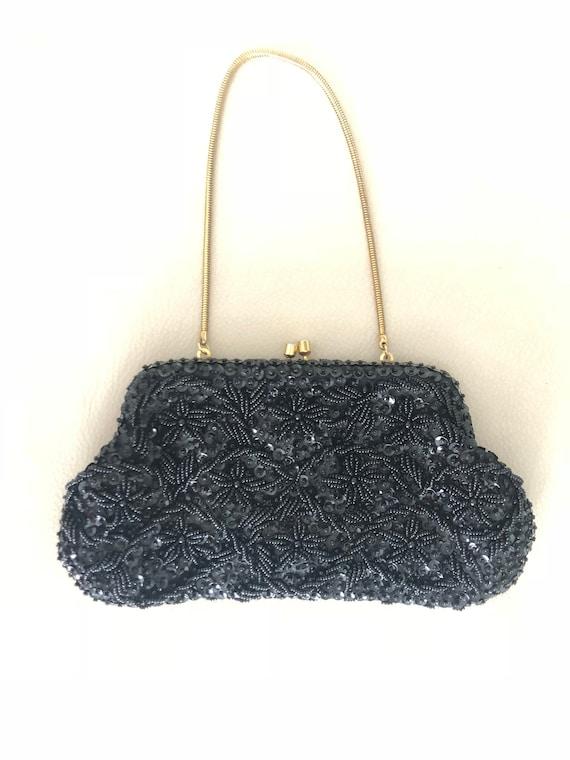 Vintage Black Hand Beaded Evening Bag