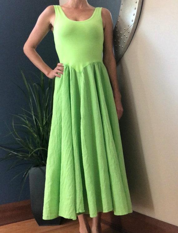 1990's Neon Green Sundress