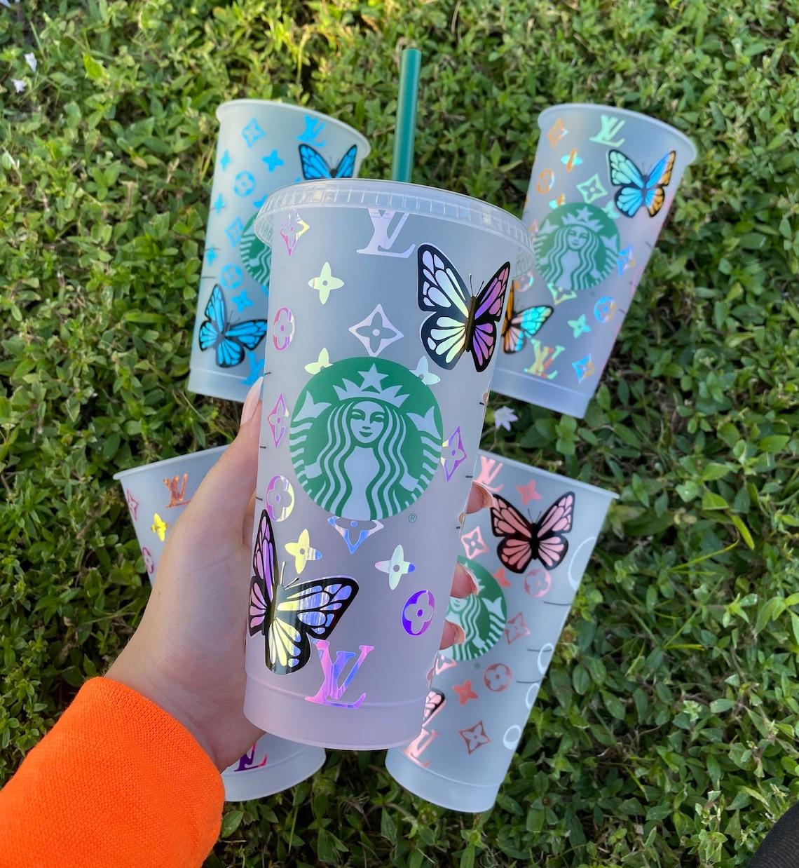 Custom Butterfly Starbucks Coffee Cold Cup / Custom Starbucks image 0