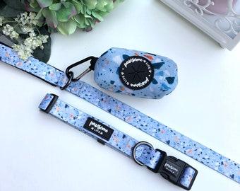 Dog Collar and Lead Set, Terrazzo Dog Collar and Lead, Girl Dog Collar, Boy Dog Collar, Cute Dog Collar and Leash, Designer Dog Collar