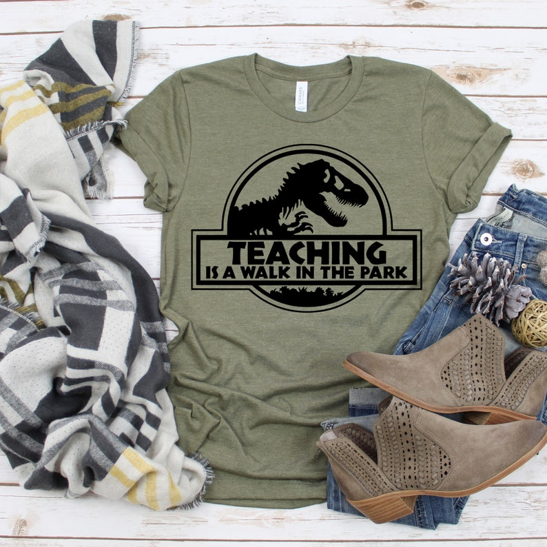 Teaching is a Walk in the Park Shirt Jurassic Style T-Shirt image 0