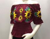 Mexican blouse, off-the-shoulder blouse, embroidered blouse, regional blouse, Tipica blouse, handmade blouse, Mexican party sunflower blouse