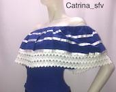 King blue blouse, off the shoulders, El Salvador blouse, honduran blouse, Nicaraguan blouse, perfect for country parties