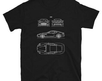 A. Martin DB9 - Short-Sleeve Unisex T-ShirtCar Blueprint / Car Lover Gift / Engineer