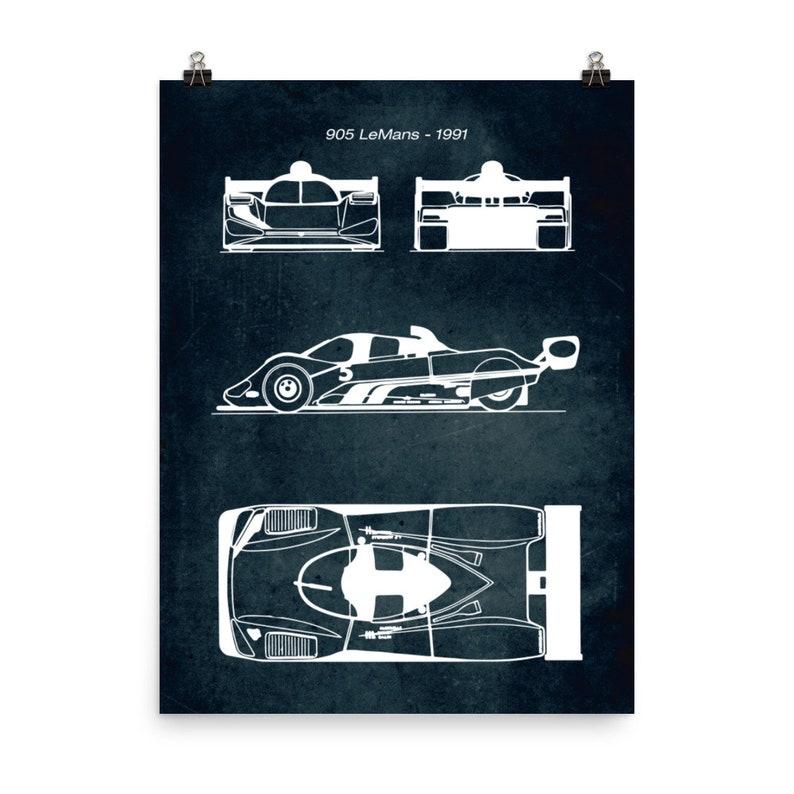905 LeMans 1991  Car Blueprint Poster  Vintage Style Home Decor