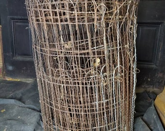 50' x 3' tall Antique Double Loop Woven Wire Old Fashioned Yard Fence. From the collection of fellenz antiques