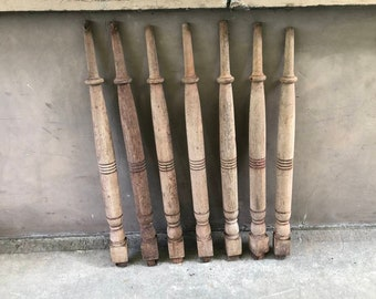 Set of 7 Antique Architectural Salvage Vintage Unfinished Wooden Spindles From The Collection Of Fellenz Antiques