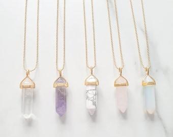 Flat Crystal Pendant Sterling Silver Chain Long Boho Necklace 7 Chakra Rock Crystal Quartz Flat Pencil Pendant Necklace Bohemian Jewelry
