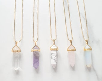 Point Crystal Necklace, Natural Gemstone, Rock crystal, Energy Healing crystal jewellery, Clear Quartz Crystal necklace, Semi precious
