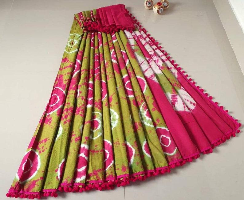 Green Soft silk with Pom Pom border work saree and blouse for women,wedding saree,indian saree,saree dress,saree for women,designer saree