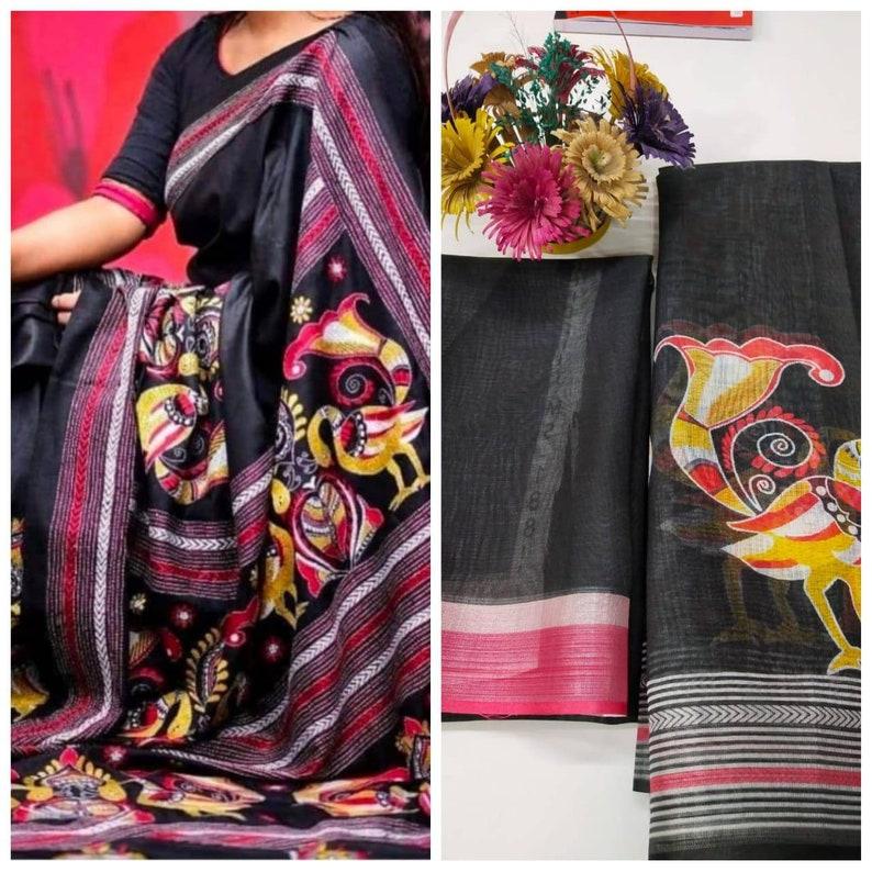 Black Original Linen saree and blouse for women,wedding saree,indian saree,sari,designer saree,sarees,traditional saree,saris,saree dress
