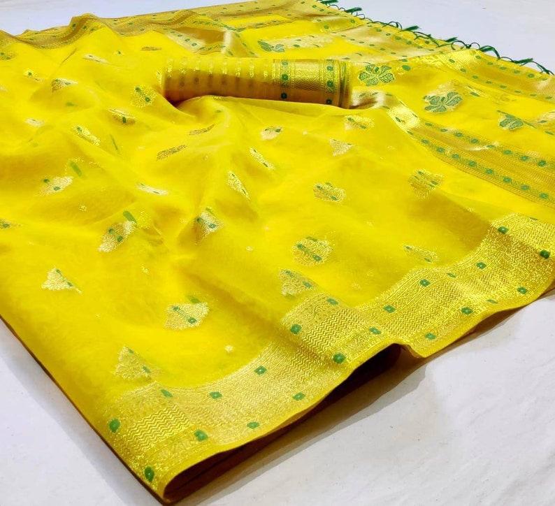 Yellow organza Saree with rose gold zari weaving and blouse for women wedding saree indian saree designer saree,traditional saree,sari