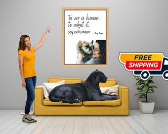 Err Is Human Forgive Canine Dog Art Typography Wall Decor Printable Digital Download for Iron on Transfer Tea Towel Tote Pillow DT1570