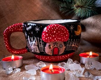 Handmade Mushroom Mug Cat Moon Bats Halloween Gift