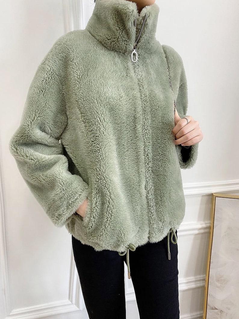 Genuine Lamb Fur 100% Wool Winter Sheep Shearling Coat