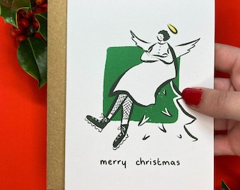 Cute Angel Christmas Card (Made from 100% Recycled Paper)