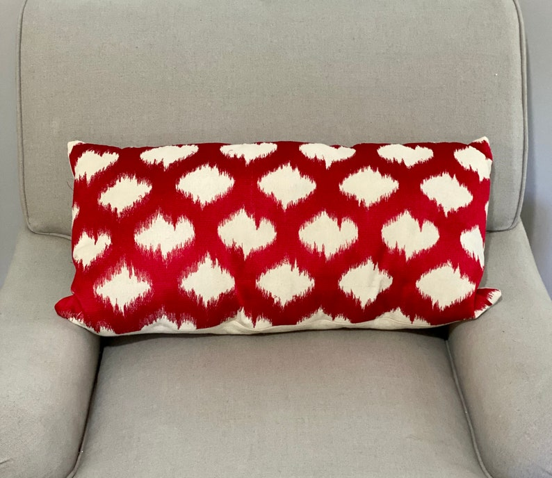 Red and White Boho Ikat Embroidered Rectangular Pillow image 0