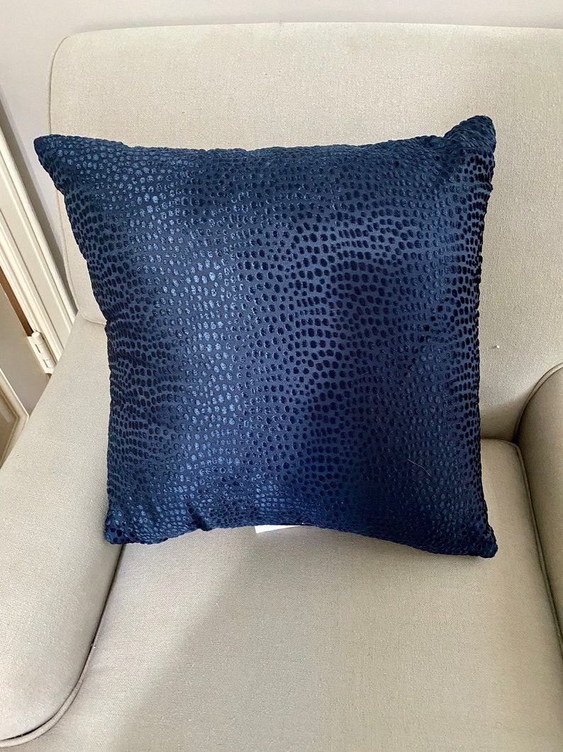 Navy Faux Snakeskin Tone on Tone Decorative Square Pillow image 0