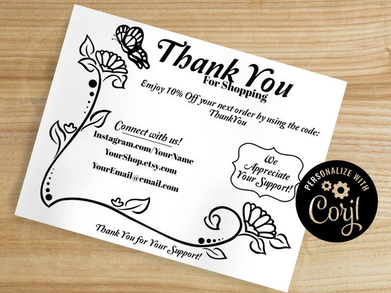 professional thank you business card digital download  etsy