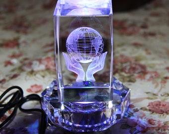 Laser Engraving Glass K9 Crystal Material 3D Laser Etched Crystal Rotating Rose -3 led Colorful Lights