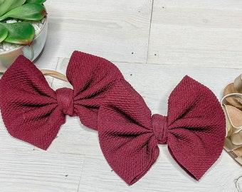 Barrette Baby Girl Bows Maroon Baby Bow Headband Baby Shower Gift Nylon