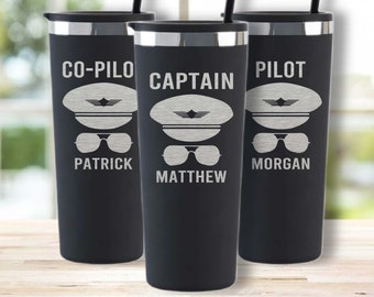 Pilot Gifts-Pilot Gift for Men-Aviation Graduate-Flight School Gift-Personalized Pilot Tumbler-Airline Pilot Mugs-Captain Gift- Co-Pilot