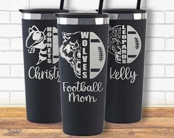 Custom Mascot Football Tumbler-Football Mama-School Spirit Gift-Friday Night Lights-Team Mascot-Football Coach Gift-Team Gift-Coach Gift