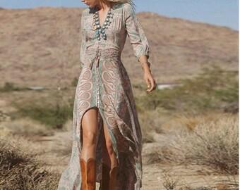 Boho kimono dress \u2022 Hooded wrap dress \u2022 Maternity maxi dress \u2022 Gypsystyle bohemian clothing women \u2022 Prairie dress \u2022 Organic goddess dress