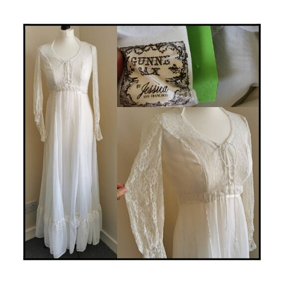Gunne Sax 70s Vintage Dress Wedding Gown Boho Lace