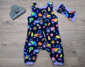 rainbow vegetable and tractor romper Rainbow tractor romper rainbow tractors dungarees rainbow veggie and tractor harem romper