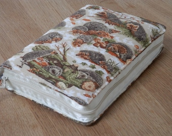 NWT 2013 Zipped Fabric Bible Cover - Hedgehogs